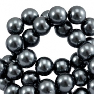 Waxed 12 mm glass pearls anthracite grey