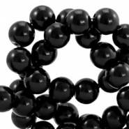 Waxed 12 mm glass pearls Black