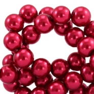 Waxed 12 mm glass pearls Aubergine red