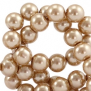 Waxed 10 mm glass pearls Soft brown
