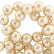 Waxed 10 mm glass pearls Champagne beige