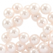 Waxed 12 mm glass pearls Light rose