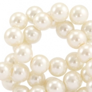 Waxed 10 mm glass pearls Silk beige
