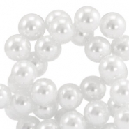 Waxed 10 mm glass pearls White