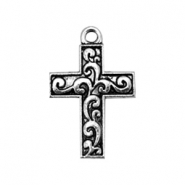 Basic Quality metal charms cross 22x15mm  Antique Silver