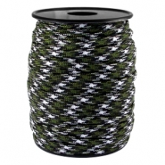 Round trendy 4 mm paracord Army green-black white