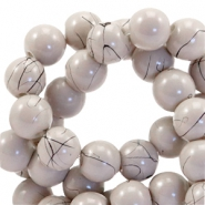 Drip-art 8 mm glass beads Taupe grey