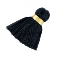 Maxi tassels 3.5 cm Gold-darkest blue