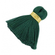 Maxi tassels 3.5 cm Gold-deep emerald green