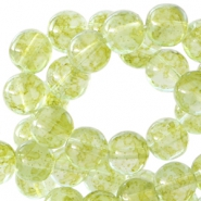Transparent marbled 8 mm glass beads Pear green