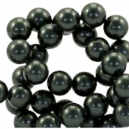 8mm glass beads with pearl coating Dark grey