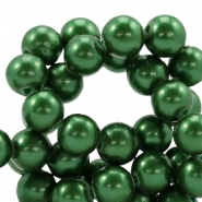 8mm glass beads with pearl coating Classic green