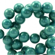 8mm glass beads with pearl coating Dark turmaline green