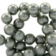 8mm glass beads with pearl coating Greenish grey