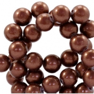 8mm glass beads with pearl coating Dark brown
