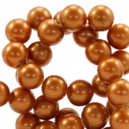 8mm glass beads with pearl coating Copper brown