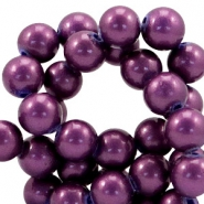 8mm glass beads with pearl coating Mauve purple
