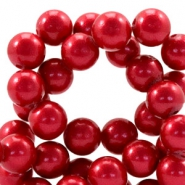 8mm glass beads with pearl coating Raspberry wine red