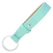 Cuoio keychains leather 15mm for 20mm cabochon Aqua mist blue