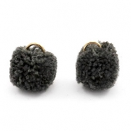 Golden pompom charm with eye 15mm Anthracite black