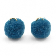 Golden pompom charm with eye 15mm Cerulean blue