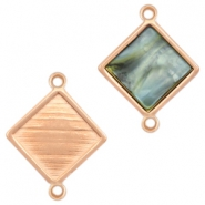 DQ metal square settings with two loops for 12mm cabochon Rose gold (nickel free)