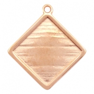 DQ metal square settings with one loop for 20mm cabochon Rose gold (nickel free)