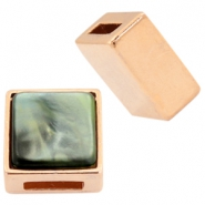 DQ metal square sliders for 15mm Cuoio leather and 20mm cabochon Rose gold