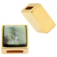DQ metal square sliders for 8mm Cuoio leather and 12mm cabochon Gold
