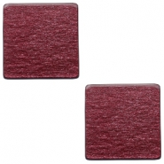 20mm flat square Polaris Elements cabochon soft tone shiny Aubergine red
