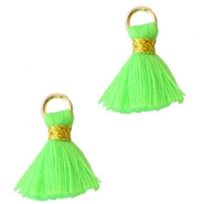 Ibiza style tassels 1.5mm Gold-fluor green