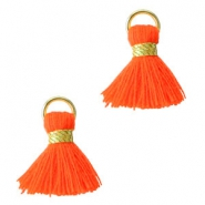 Ibiza style tassels 1.5mm Gold-fluor red