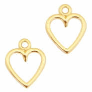 DQ metal charms open heart 14x11mm Gold (nickel free)