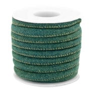 Trendy stitched denim cord 6x4mm Dark emerald green