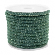 Trendy stitched denim cord 4x3mm Dark emerald green