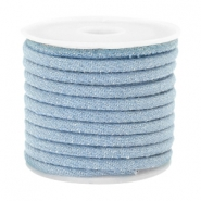 Trendy stitched denim cord 4x3mm Light blue