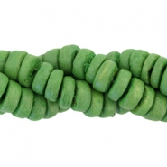 Coconut beads disc 8mm Dark pear green