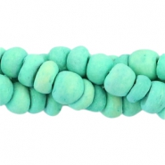 Coconut beads disc 4mm Turquoise green