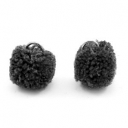 Silver pompom charms with eye 15mm Anthracite black