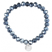 Top faceted Sisa bracelet 8x6mm (stainless steel charm) Montana blue-pearl diamond coating