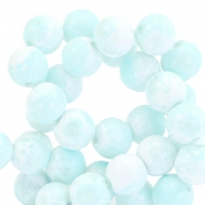 8mm marbled glass beads White-light blue