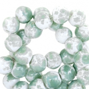 8mm marbled glass beads White-pastel green
