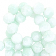 8mm marbled glass beads White-pastel turquoise green