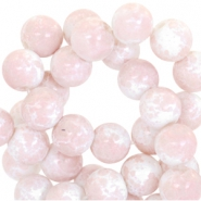 8mm marbled glass beads White-rose