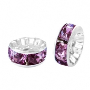 Rhinestone crystal rondelle 6mm Silver-light aubergine purple