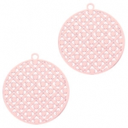 Round bohemian pendants with eye 22mm Light pink