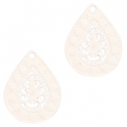 Bohemian drop shaped pendants 20mm Crème beige