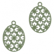 Oval Bohemian pendants with eye 15mm Pastel army green