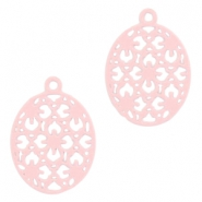 Oval Bohemian pendants with eye 15mm Light pink