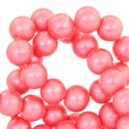 8mm pearl glitter glass beads Bright coral pink
